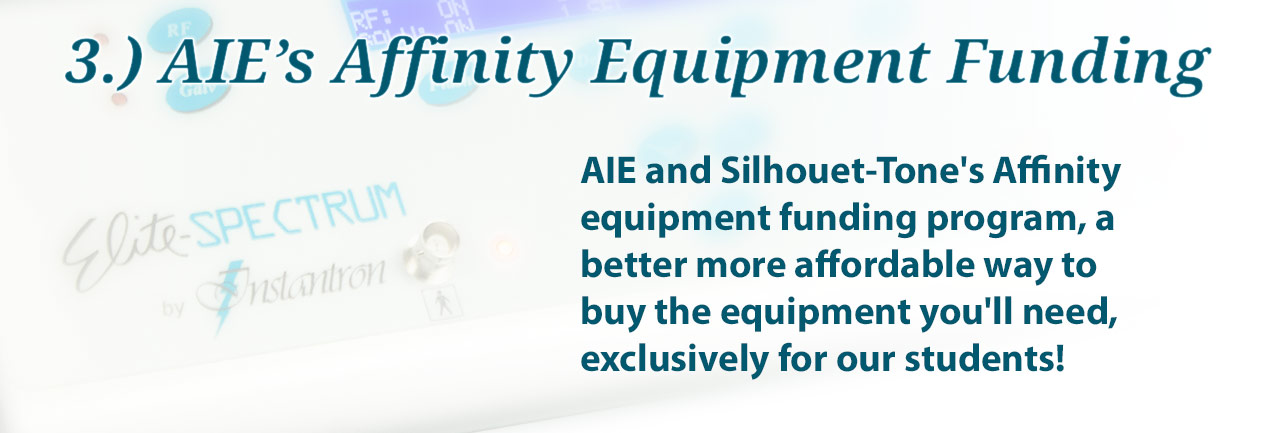 AIE and Silhouet-Tone's Affinity equipment funding program, a better more affordable way to buy the equipment you'll need, exclusively for our students!