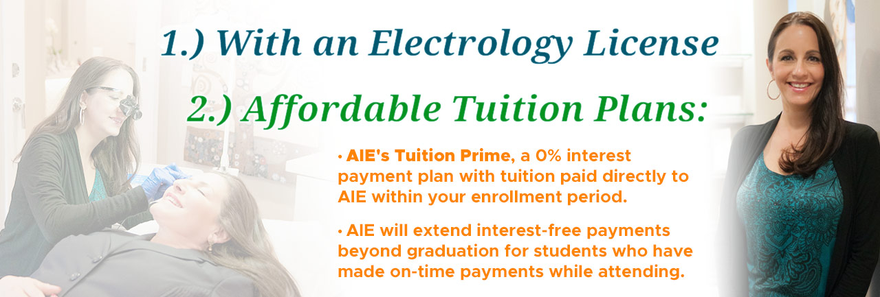 Affordable tuition plans including AIE Tuition Prime, a 0% interest payment plan with tuition paid directly to AIE within your enrollment period.
