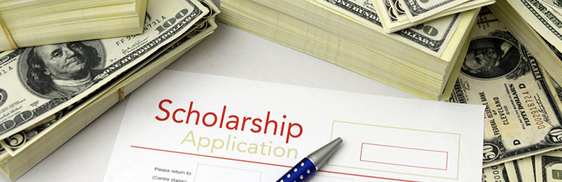 Scholarship application with stacks of money