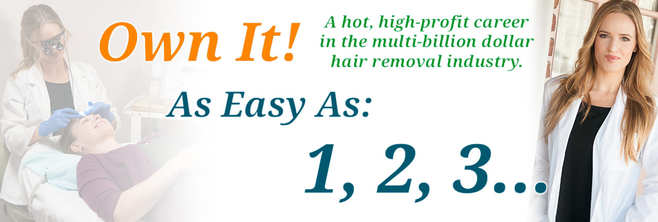 Begin a hot, high-profit career in the multi-billion dollar hair removal industry, it's as easy as 1,2,3
