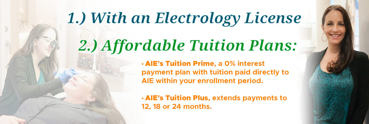 Affordable tution plans including AIE Tuition Prime, a 0% interest payment plan with tuition paid directly to AIE within your enrollment period and AIE Tuition Plus, which extends payments to 12, 18 and 24 months